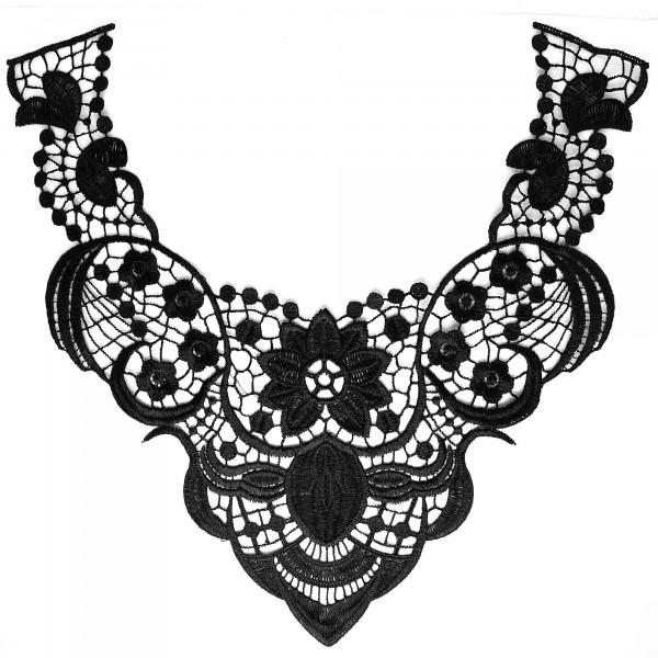 Spitzenkragen Schwarz Ornamente