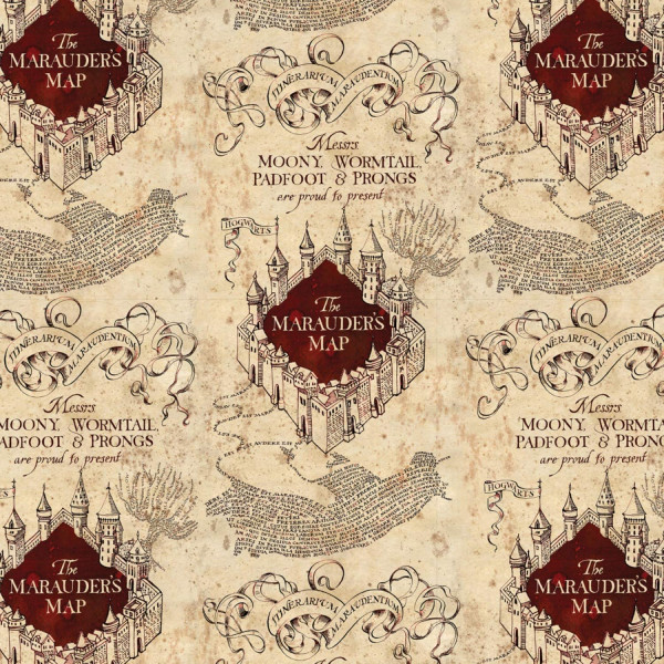 Baumwollstoff Harry Potter Karte des Rumtreibers