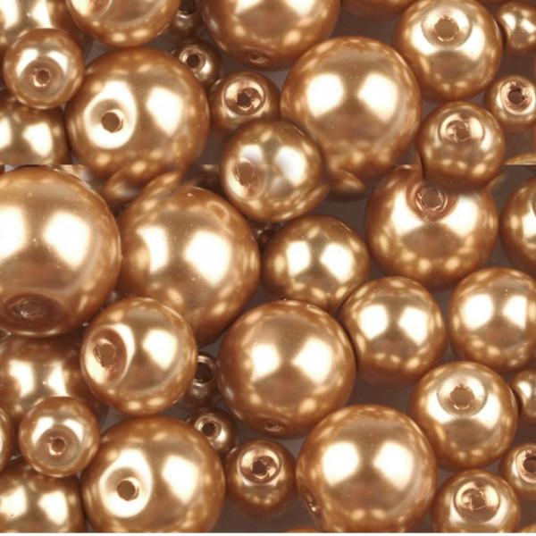 Glaswachsperlen Mix 4 - 12mm Goldfarben