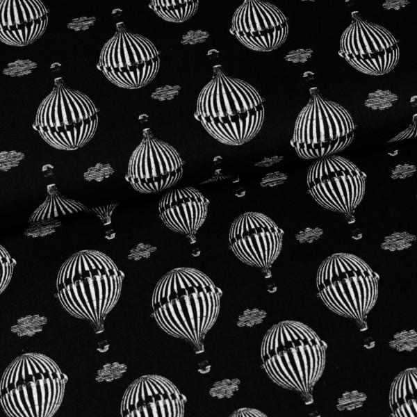 Baumwollstoff Ballons Schwarz Weiß