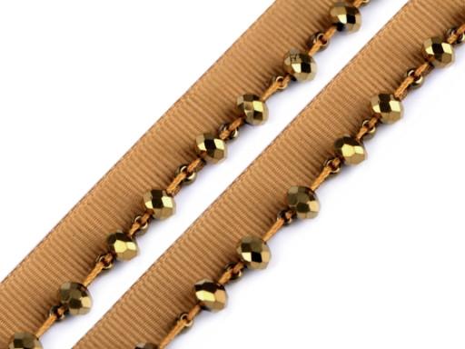 Borte / Paspelband goldbraun mit Glasperlen 15mm