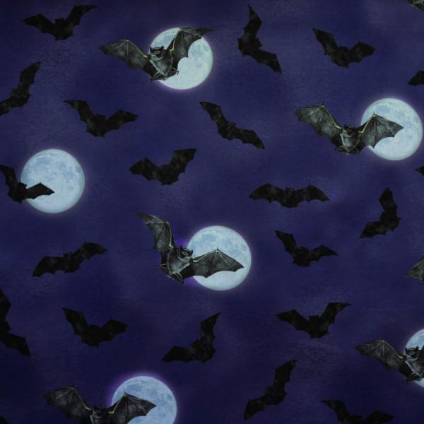 "Baumwollstoff ""Darkest Sky"" Fledermaus Mond Lila"