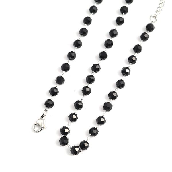 Edelstahl Kette schwarze Perlen 45cm silberfarben