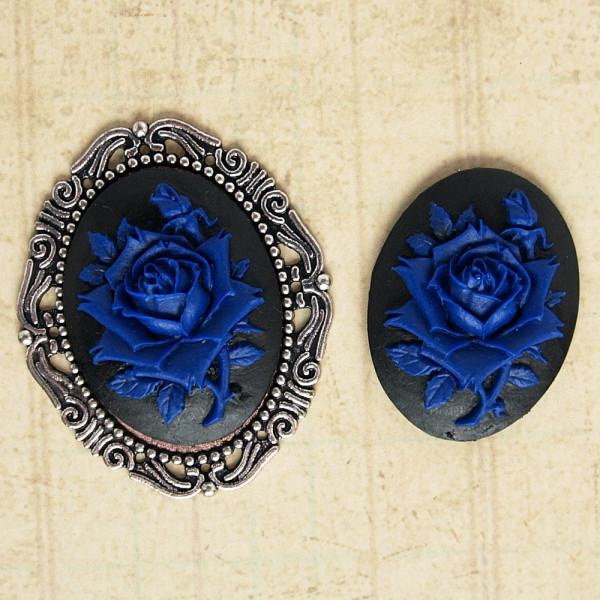 kamee rose 30mm groß blau schwarz gothic material schmuck kaufen