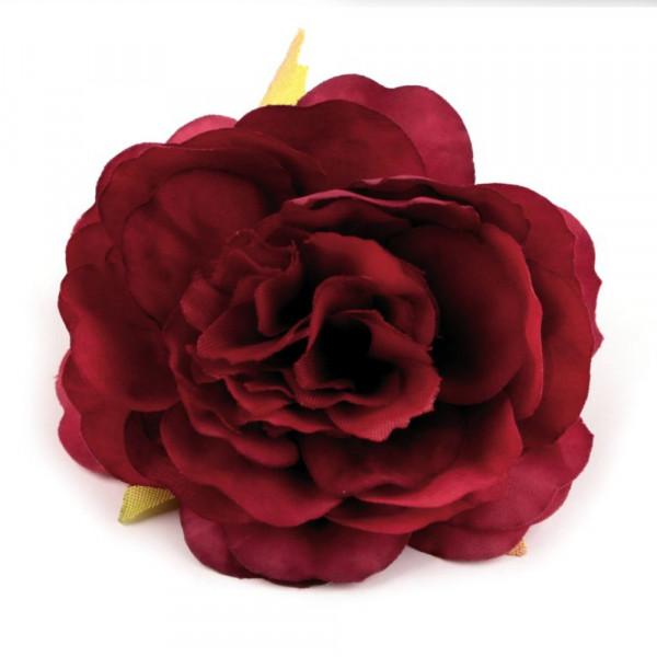 5 Kunstblumen Rosen Dunkelrot 65mm