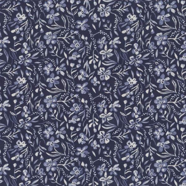 Webstoff MARLIN Blüten Dunkelblau