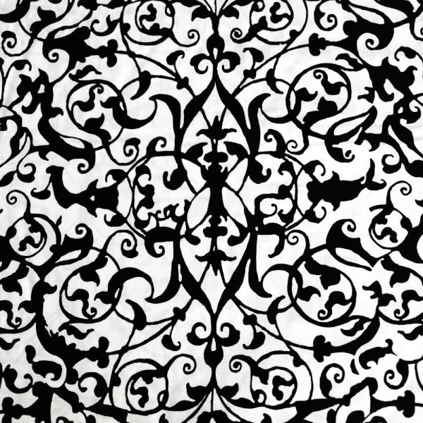 Baumwollstoff schnörkel ornamente Schwarz Weiß kaufen gothic