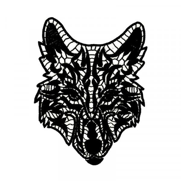 Wolf Grafik Spitze Schwarz