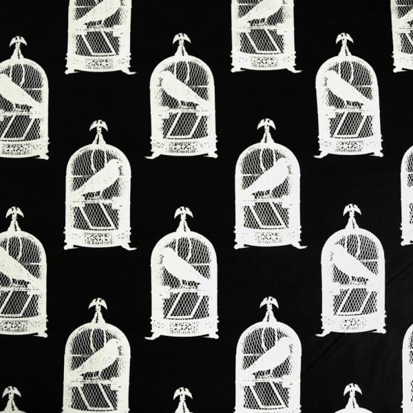 Baumwollstoff vogel käfig rabe nevermore Schwarz Weiß kaufen gothic