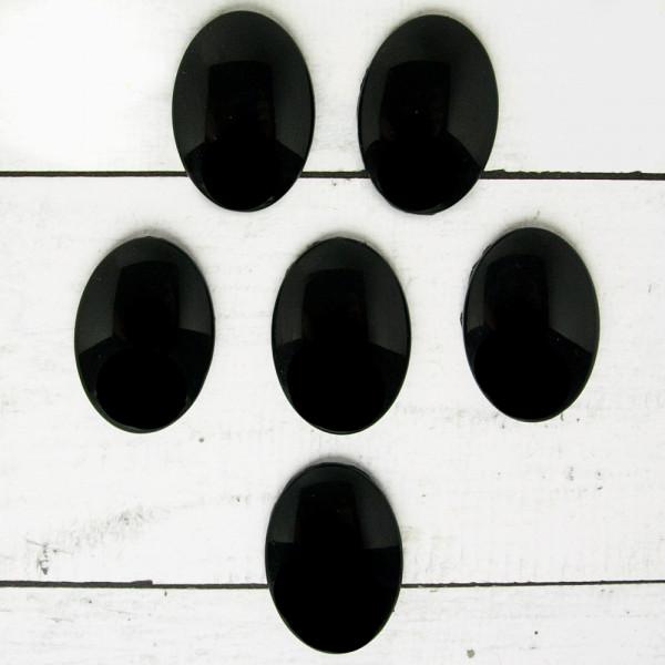 6x (M) Cabochon schwarz