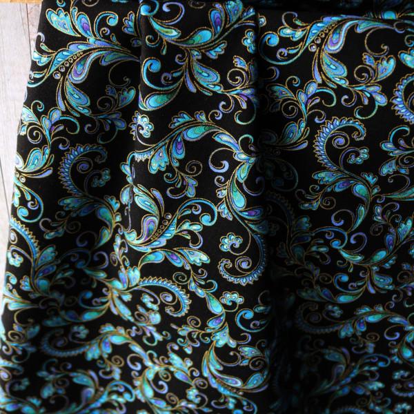 Baumwollstoff Metallic Ornamente Regency