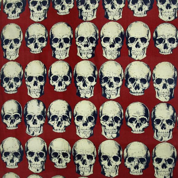 Baumwollstoff Skull Rows Rot