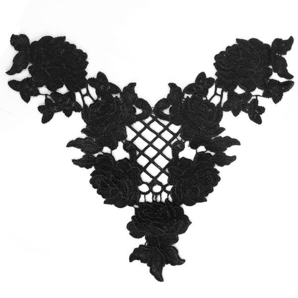 Choker Kragen Spitze Rosen schwarz