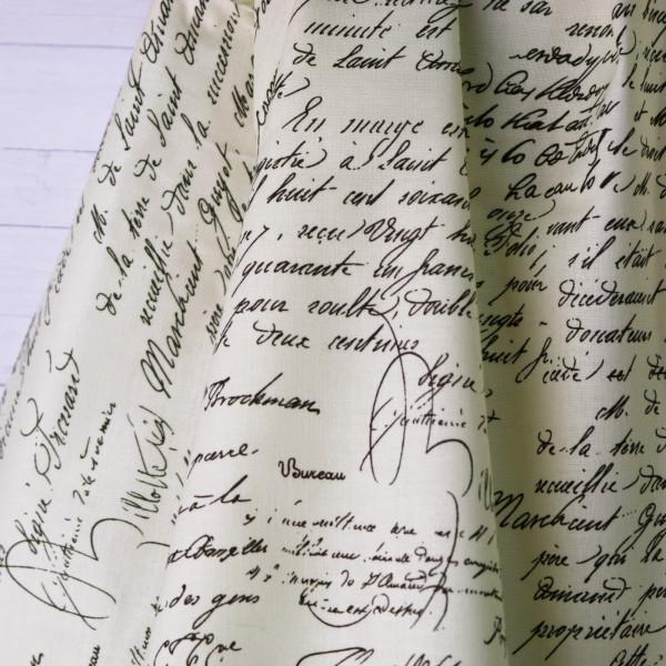 Baumwollstoff Handschrift Brief Vintage