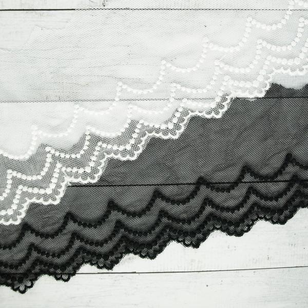 Spitze Tüll Stickerei schwarz und weiß 8cm