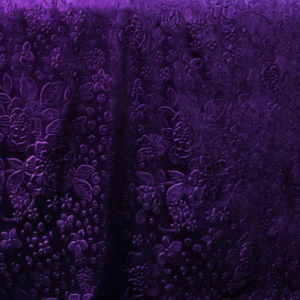 Stretchsamt Blüten Lila Violett Velours Velvet