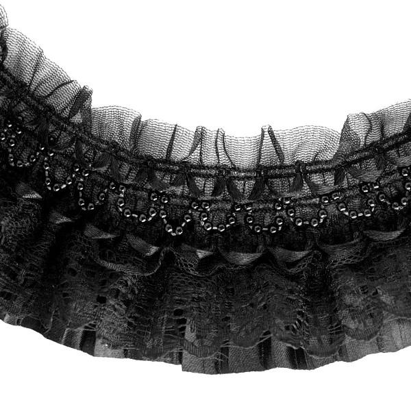 Rüschenborte Spitze Satin Perlen DIY Gothic Lolita
