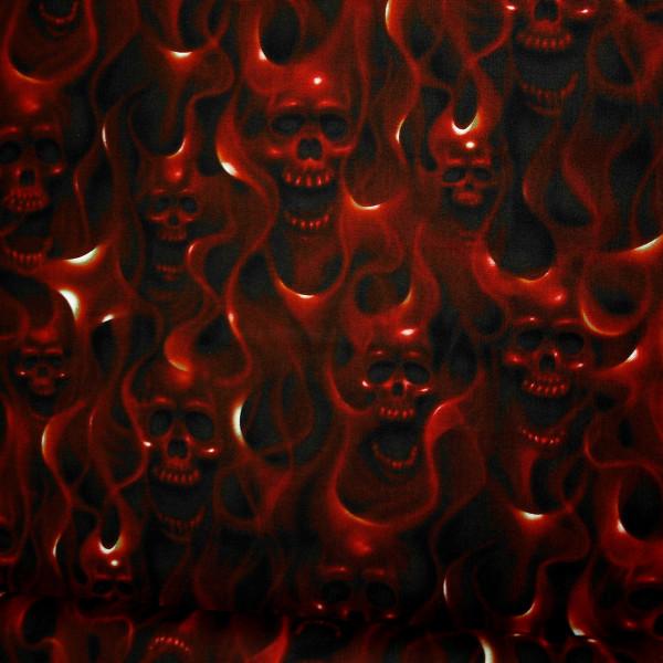 Baumwollstoff Skullfire Rot