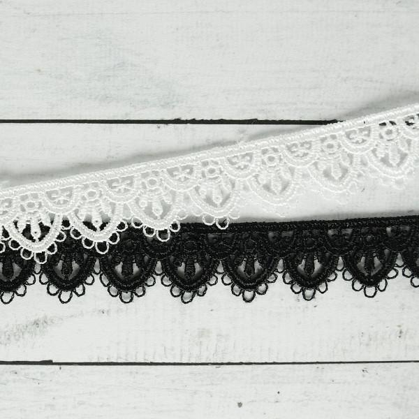 Spitze Borte 1,5cm schwarz oder weiß