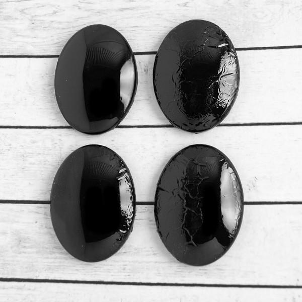 4 Cabochons (L) schwarz Struktur