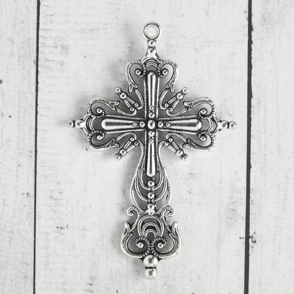 Kreuz Anhänger schmuck basteln diy gothic silber groß