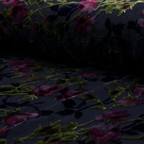Transparente Viskose Velours Rosen Violett