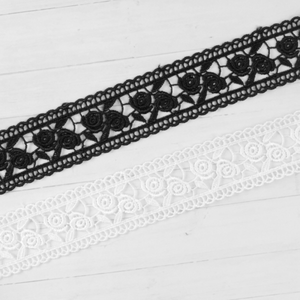 Spitzenborte Polyester Band Rosen 3cm