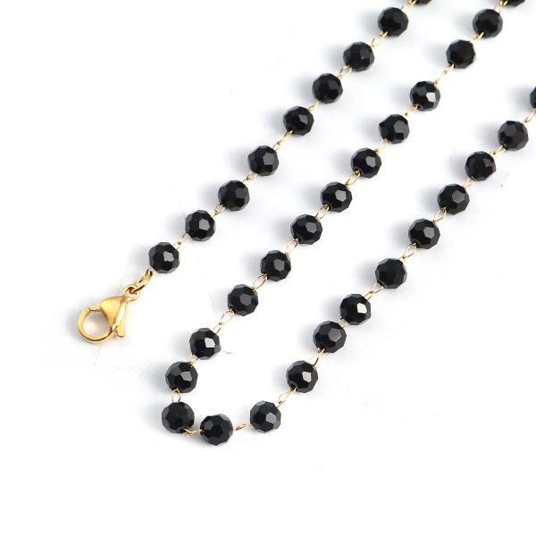 Edelstahl Kette schwarze Perlen 45cm goldfarben