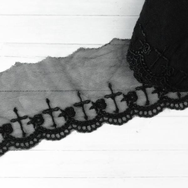 Spitze Tüll Kreuze 6,5cm schwarz Polyester