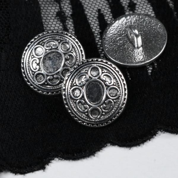 Knopf Metall Oval 17mm Silberfarben