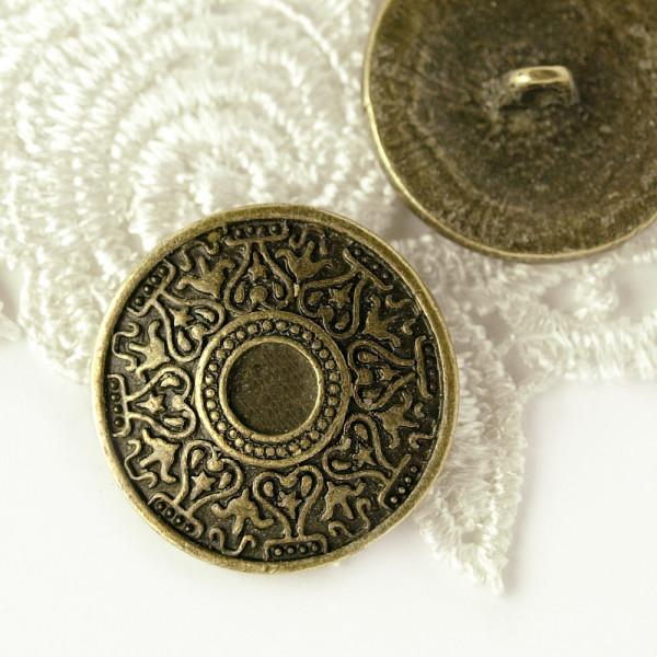 Knopf altmessing metall historisch kaufen gravur groß mantel umhang 26mm