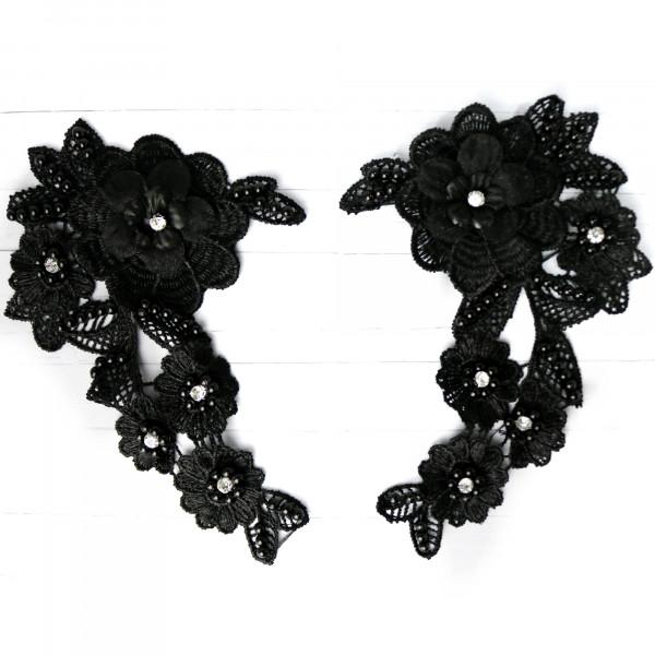 Spitzenapplikation 3D schwarz perlen