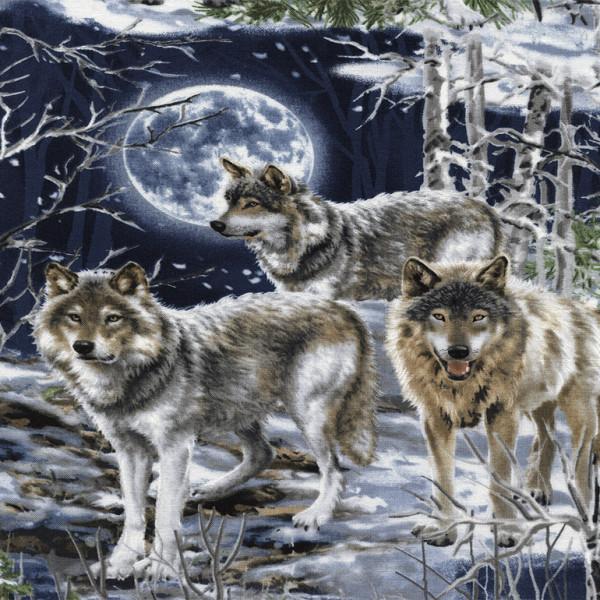 Patchworkstoff Wölfe