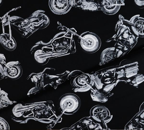 Baumwollstoff Motorrad Schwarz