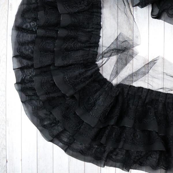 Rüschen Schwarz 11cm