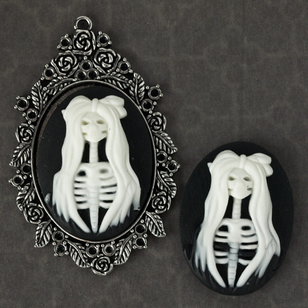 kamee, resin skelett mädchen gothic halloween diy kaufen