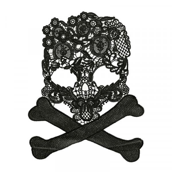 Totenkopf Skull Knochen Spitze Schwarz