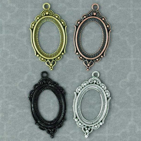 Kamee Fassung Setting verziert schnörkel ornamente oval cabochon
