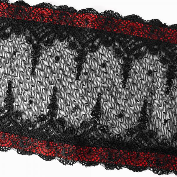 Tüllspitze, breit, rot, schwarz, material, gothic, schneiderei, kaufen
