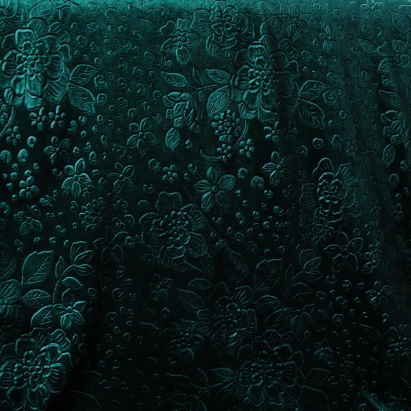 Stretchsamt Blüten Dunkelgrün Velours Velvet