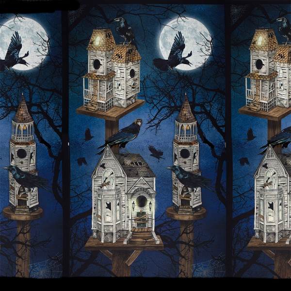 "Baumwollstoff ""Darkest Sky"" Panel Raven Moon Blau"