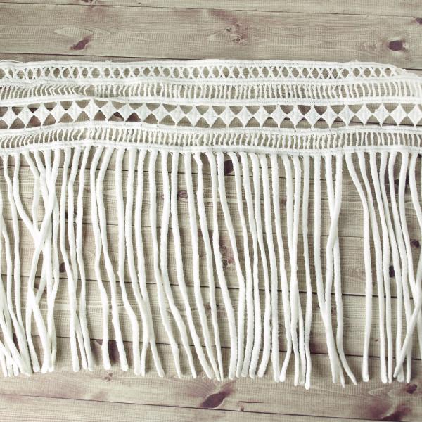 Fransen Borte weiß 18cm Muster Materiel Nähen Gardine Crop kaufen