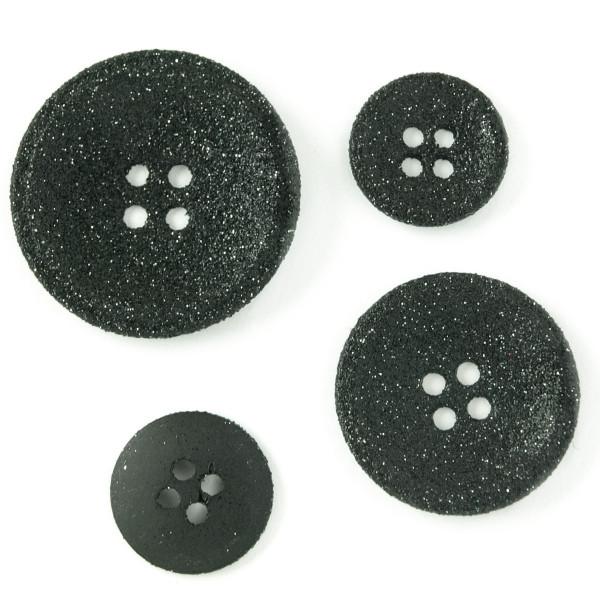 Knöpfe Glitzer schwarz kaufen Material Metall