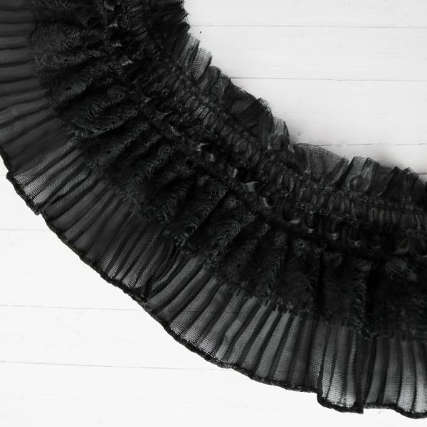 Rüschenborte schwarz 9cm