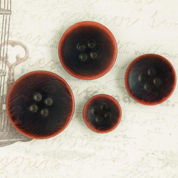 Kunststoffknopf 2-Loch Rot/Schwarz