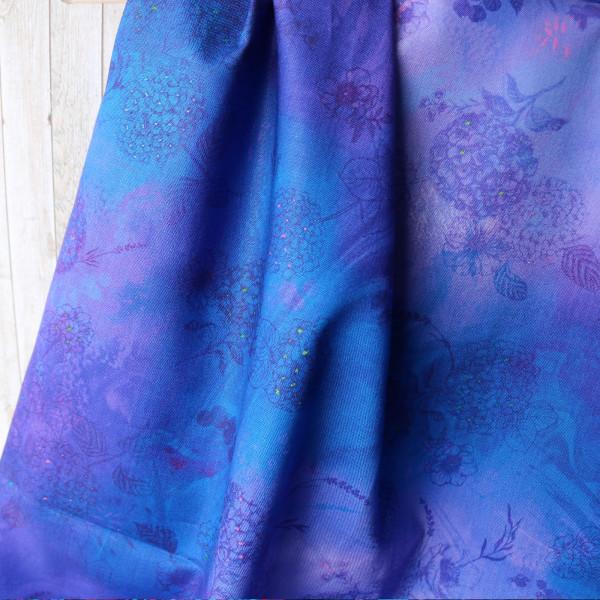 Baumwollstoff Digitaldruck Violett Watercolor Blüten