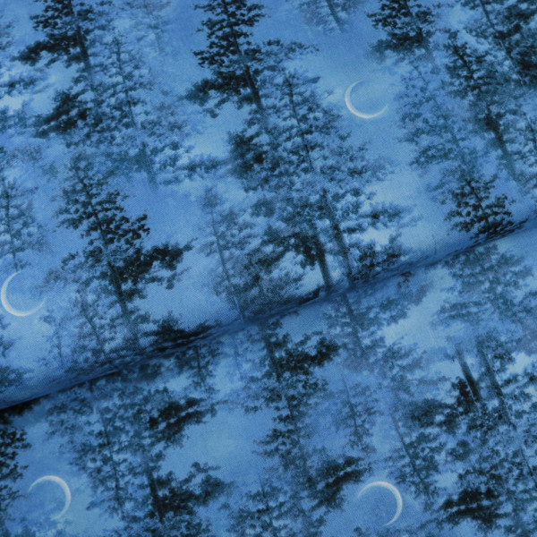Baumwollstoff Nacht Wald Blau