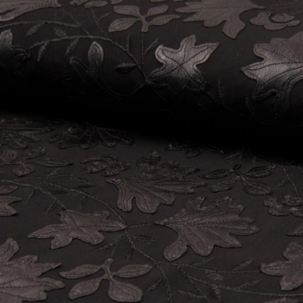 Netz elastisch mit Kunstleder Ranken schwarz
