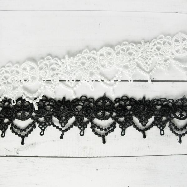 Spitze Borte 3cm schwarz oder weiß