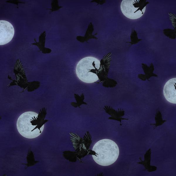 "Baumwollstoff ""Darkest Sky"" Raben Mond Blau Lila"